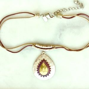 Laura Ashley Rustic Silver & Gold Pendant Necklace